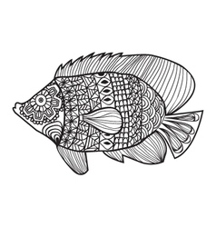 Fish zentangle style design for coloring boo vector