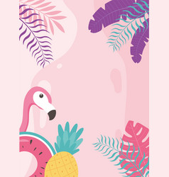 flamingo bird pineapple and float exotic tropical vector image