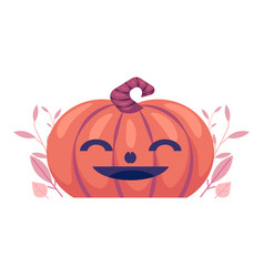 Flat spooky pumpkin with smiling face jack vector