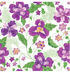 floral seamless pattern garden flowers background vector image