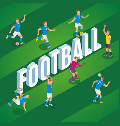 football isometric poster vector image