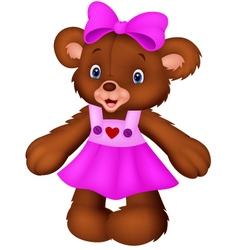 Funny female bear cartoon vector image