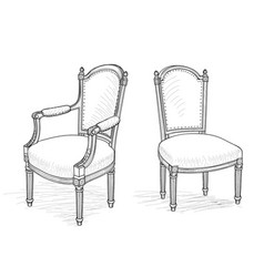 Furniture set interior room furnishing chair vector
