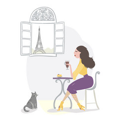 girl drinking coffee in a parisian cafe vector image