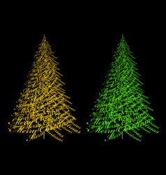 Gold and green christmas tree with text vector
