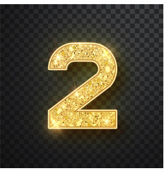 Gold glitter numbers two with shadow vector