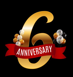 golden 6 years anniversary template with red vector image