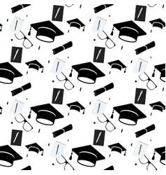 Graduation cap and diploma scroll seamless vector