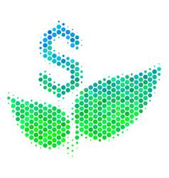 Halftone blue-green eco startup icon vector
