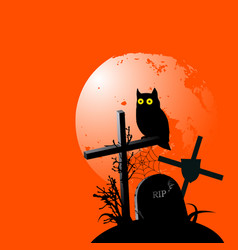 halloween background with a owl vector image