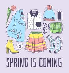 Hand drawn spring fashion wear and quote spring vector