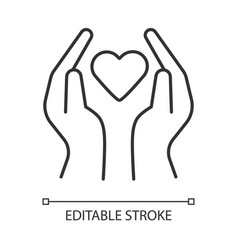 Hands with heart linear icon volunteering vector