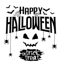 happy halloween and trick or treat text banner vector image