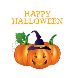 Happy halloween card with pumpkins vector