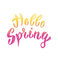 Hello spring hand lettering phrase design element vector