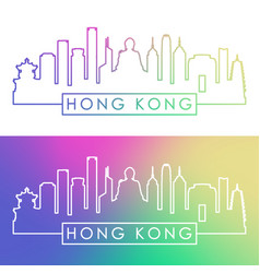 Hong kong skyline colorful linear style editable vector