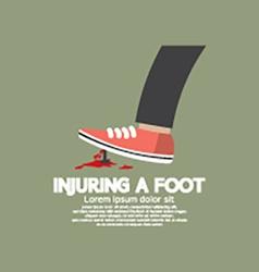 Injuring a foot by nail vector