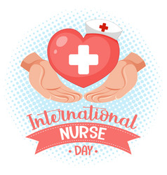 International nurse day logo with cross medical vector