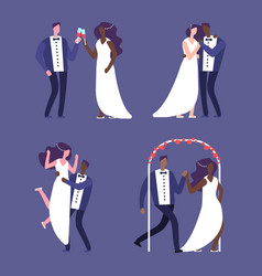 interracial marriage wedding couples vector image