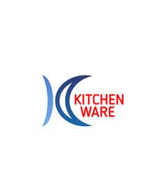 Kitchenware icon kitchen utensil branded emblem vector