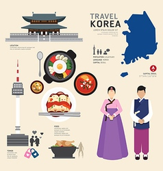 Korea Flat Icons Design Travel Concept vector