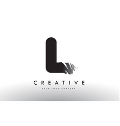 l brushed letter logo black brush letters design vector image