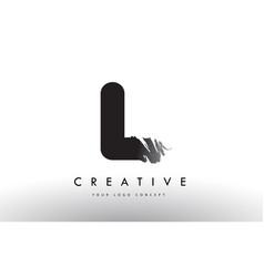 L brushed letter logo black brush letters design vector