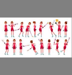 Lacrosse girl catch ball running vector
