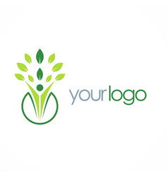 leaf organic people logo vector image