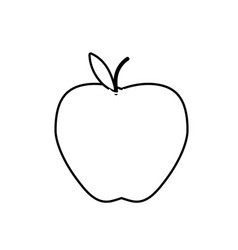 Line delicious apple fresh fruit nutrition vector