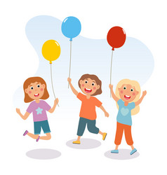 little children are having fun with colorful vector image