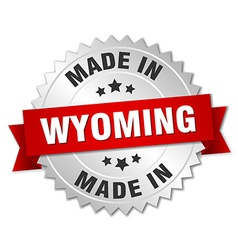 Made in Wyoming silver badge with red ribbon vector