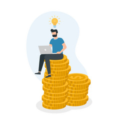 man sitting on money coin stack and working with vector image