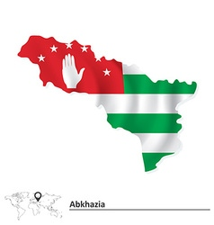 Map of Abkhazia with flag vector