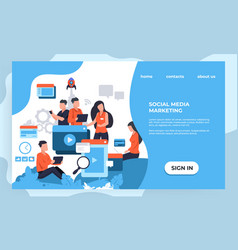 marketing landing page seo and business analytic vector image