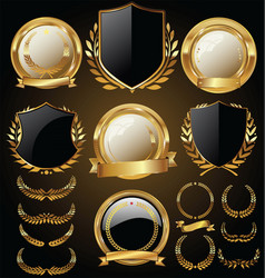 Medieval golden shields laurel wreaths and badges vector