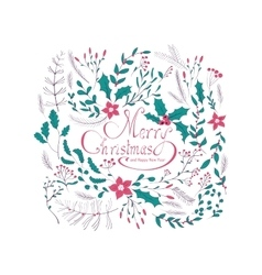 Merry Christmas hand lettering greeting card vector image