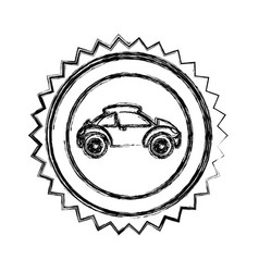 Monochrome sketch of circular seal with sports car vector