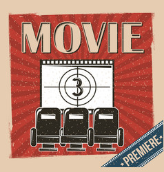 Movie premiere poster retro vintage chair and film vector