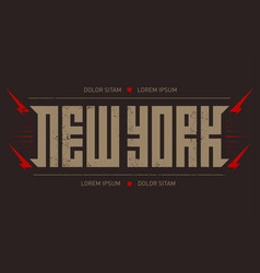 new york - poster with red lightnings and stars vector image