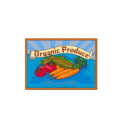 Organic Produce Crop Harvest Label Watercolor vector