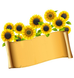 Paper placard with sunflowers vector