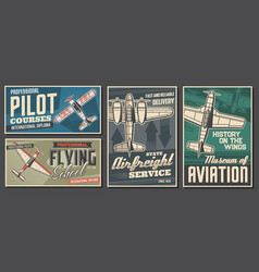 Pilot courses and flying school banners vector