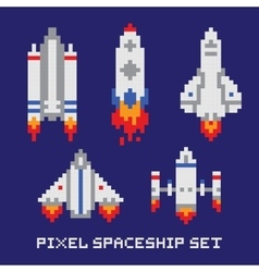 Pixel art spaceship isolated set vector image