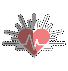 red heartbeat cardio vital sign vector image