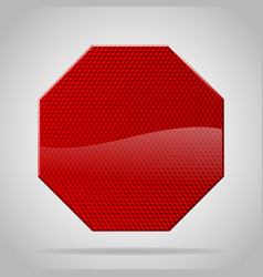 Red reflective warning octagon sign vector