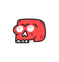 red skull hand drawn flat color vector image