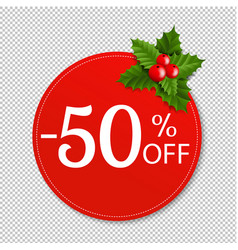 sale banner with holly berry transparent vector image