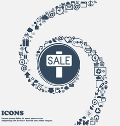 Sale price tag icon in the center Around the many vector