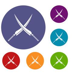 Samurai swords icons set vector